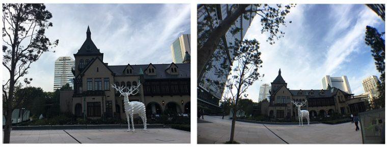 左がiPhone 6s Plus単体で撮影した画像、右がセルカレンズをつけて撮影した画像