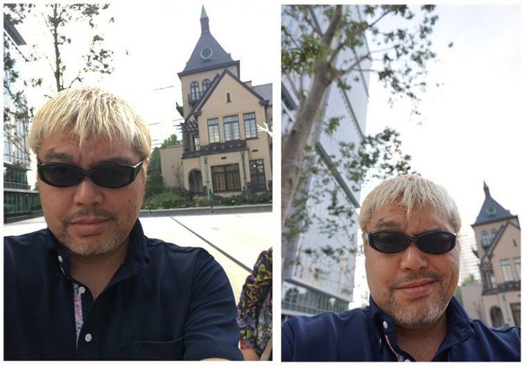 左がiPhone 6s Plus単体で撮影した画像、右がQX-1Lで撮影した画像