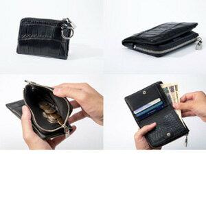 高級クロコダイル革をカジュアルにデザインにした折財布