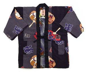 相撲×龍虎の柄が粋。両面着られる中綿入りゆったり半纏