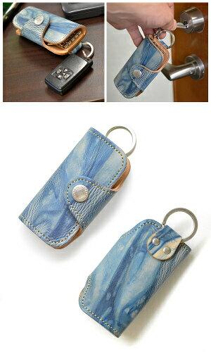 デニムのような藍色が美しい 伝統ムラ染めのキーケース