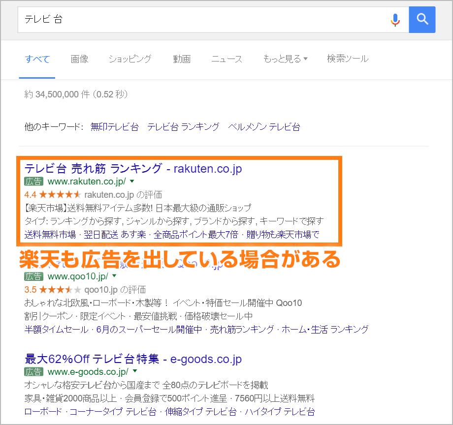 「テレビ台」と検索して表示された検索連動型広告
