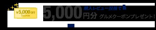 購入レビュー投稿で5,000円分 グルメクーポンプレゼント!