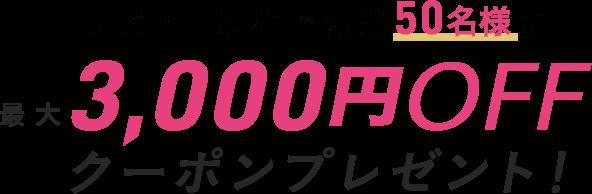 レビュー投稿で先着50名様に最大3,000円OFFクーポンプレゼント!