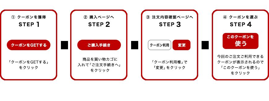クーポンを獲得 STEP1 クーポンをGETする」をクリック  購入ページへ STEP2 商品を買い物カゴに入れて「ご注文手続きへ」をクリック  注文内容確認ページへ STEP3 「クーポン利用権」で変更」をクリック  クーポンを選ぶ STEP4 今回のご注文ご利用できるクーポンが表示されるので「このクーポンを使う」をクリック