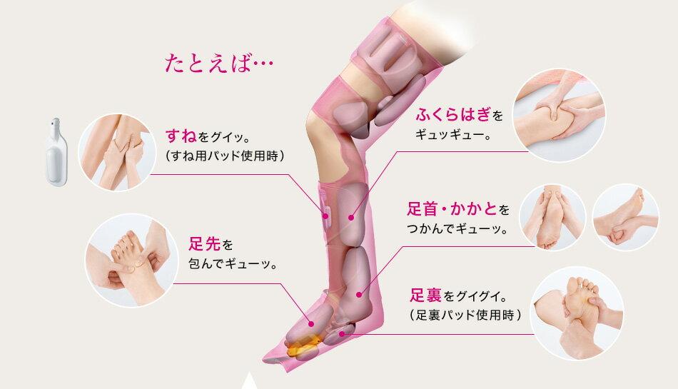 たとえば… すねをグイッ。(すね用パッド使用時) 足先を包んでギューッ。 ふくらはぎをギュッギュー。 足首・かかとをつかんでギューッ。 足裏をグイグイ。(足裏パッド使用時)