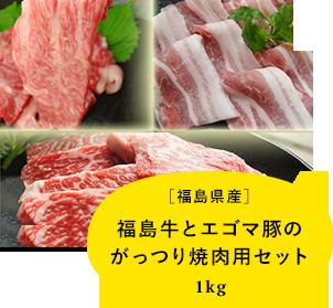 【福島県産】福島牛とエゴマ豚のがっつり焼肉用セット1kg