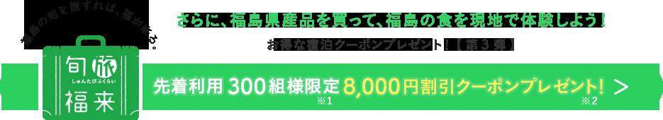 先着利用300組様限定8,000円割引クーポンプレゼント!