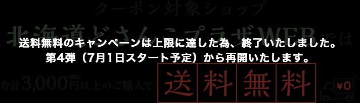クーポン対象ショップ 北海道どさんこプラザWEBでは合計3,000円以上のお買い物で送料無料