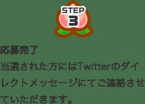 STEP3 応募完了 当選された方にはTwitterのダイレクトメッセージにてご連絡させていただきます。