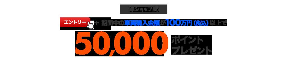 対象ショップ限定 エントリー+期間中の車両購入金額が100万円(税込)以上で50,000ポイントプレゼント