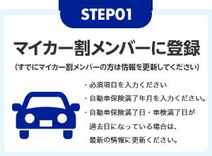 STEP01 マイカー割メンバーに登録(すでにマイカー割メンバーの方は情報を更新してください)