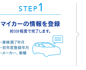 STEP1:マイカーの情報を登録 約3分程度で完了します。 ・車検満了年月 ・初年度登録年月 ・メーカー、車種