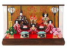 木製焼桐枠のアクリルケース 五人飾り