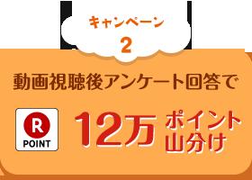 キャンペーン2 動画視聴後アンケート回答で12万ポイント