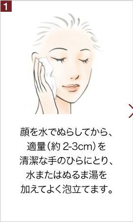 1顔を水でぬらしてから、適量(約2-3cm)を清潔な手のひらにとり、水またはぬるま湯を加えてよく泡立てます。