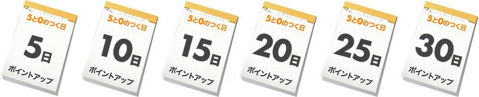 5と0の付く日 5日、10日、15日、20日、25日、30日 ポイントアップ