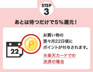 STEP3 5%還元!