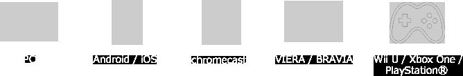 pc Android/iOS chromecast  VIERA/BRAVIA WiiU XBOXone/Playstation