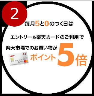 毎月5と0のつく日はエントリー&楽天カードのご利用で楽天市場でのお買い物がポイント5倍