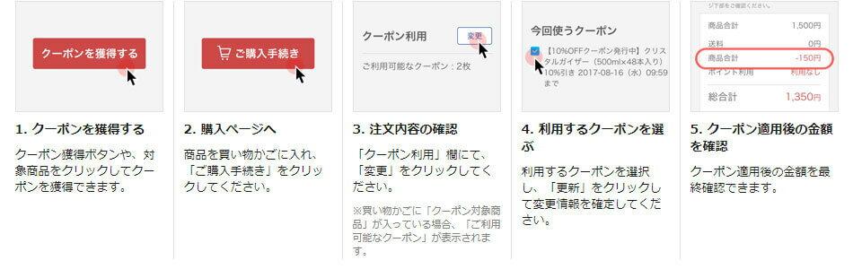 1.「クーポンをGET」をクリック | 2.商品を買い物かごに入れて「ご注文手続きへ」をクリック | 3.「クーポン利用欄」で「変更」をクリック | 4.今回のご注文で利用できるクーポンが表示されるので、「このクーポンを使う」をクリック | 5.お買い物のクーポン適用後の金額の最終確認ができます