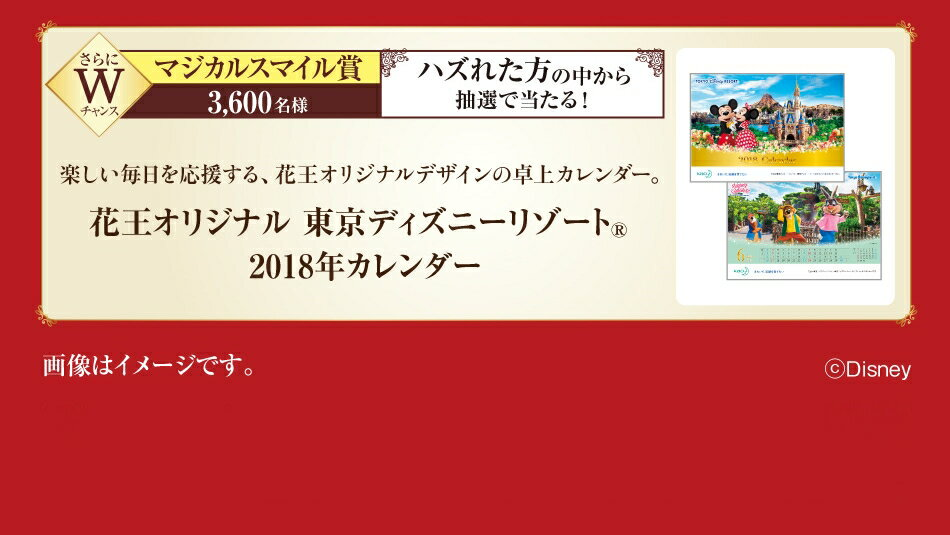 Wチャンスマジカルスマイル賞 3,600名様 花王オリジナル東京ディズニーリゾート®2018年カレンダー
