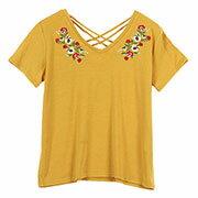花柄刺繍VネックカットソーTシャツ