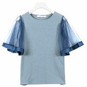 グログラン×チュール袖リブカットソー