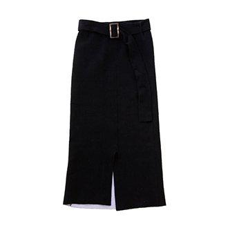 ベルト付き綿ニットスカート