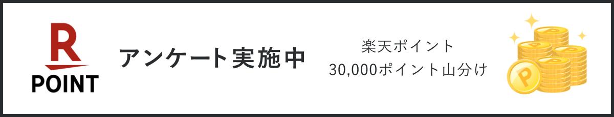 アンケート実施中 楽天ポイント 30,000ポイント山分け