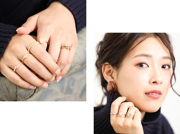 指先のおしゃれ感で雰囲気美人になれる!重ねづけ!繊細セットリング