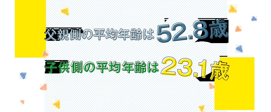父親側の平均年齢は52.8歳 子供側の平均年齢は23.1歳
