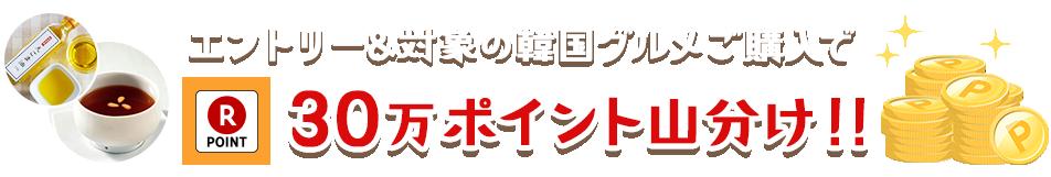 エントリー&対象の韓国グルメご購入で30万ポイント山分け!!