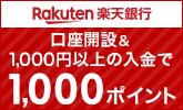 口座開設&1,000円以上の入金で1,000ポイント!楽天銀行