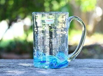 琉球ガラスのアクア模様ビアジョッキ