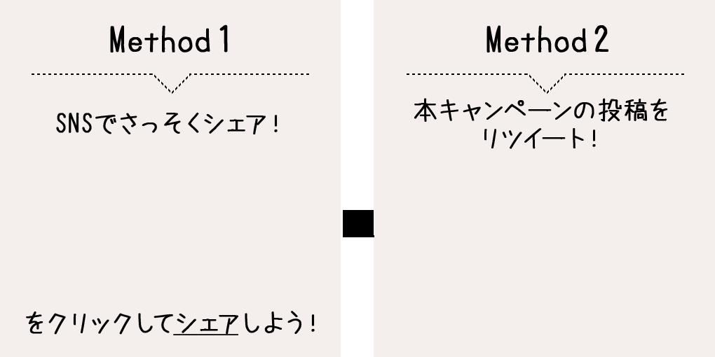 Method1 SNSでさっそくシェア! OR Method2 本キャンペーンの投稿をリツイート