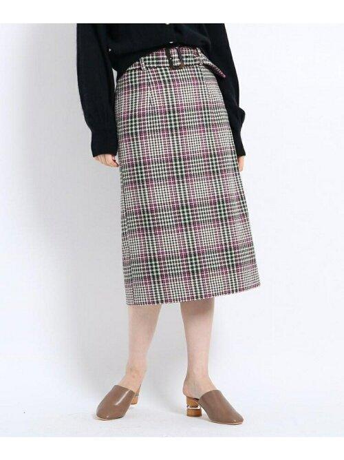 【Lサイズあり】ツィードチェック柄ベルト付タイトスカート