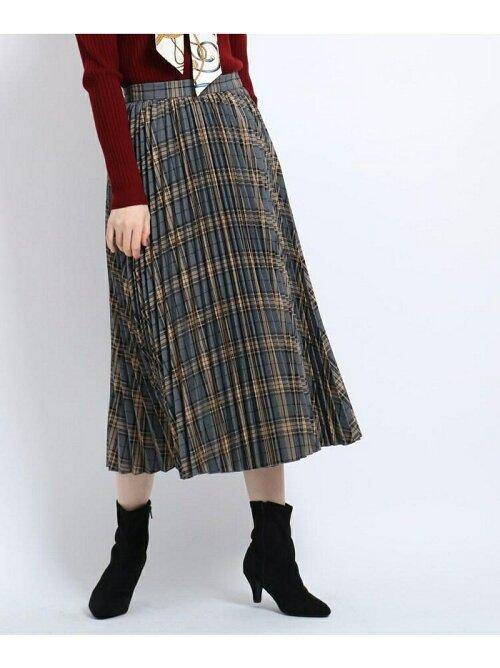 チェック柄プリーツミモレ丈スカート