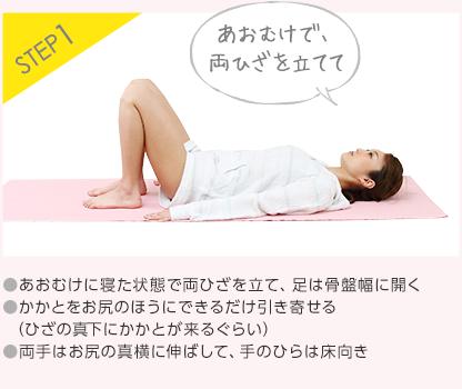STEP1 ●あおむけに寝た状態で両ひざを立て、足は骨盤幅に開く●かかとをお尻のほうにできるだけ引き寄せる(ひざの真下にかかとが来るぐらい)●両手はお尻の真横に伸ばして、手のひらは床向き