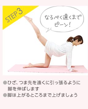 STEP3 ●ひざ、つま先を遠くに引っ張るように脚を伸ばします●脚は上がるところまで上げましょう