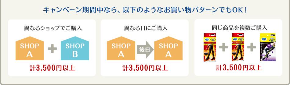 キャンペーン期間中なら、以下のようなお買い物パターンでもOK!異なるショップでご購入 計3,500円以上。異なる日にご購入 計3,500円以上。同じ商品を複数ご購入 計3,500円以上。