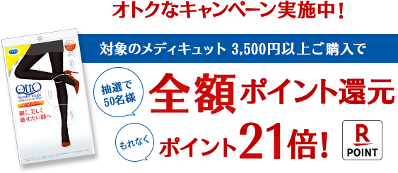 オトクなキャンペーン実施中!対象のメディキュット 3,500円以上ご購入で抽選で50名様全額ポイント還元 もれなくポイント21倍
