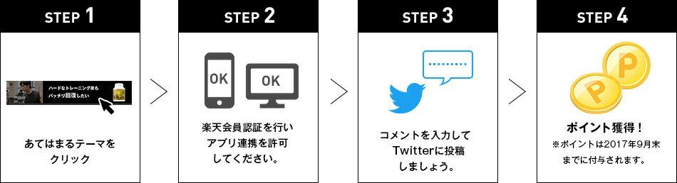 STEP1 あてはまるテーマをクリック STEP2 楽天会員認証を行いアプリ連携を許可してください。 STEP3 コメントを入力してTwitterに投稿しましょう。 STEP4 ポイント獲得! ※ポイントは2017年9月末までに付与されます。