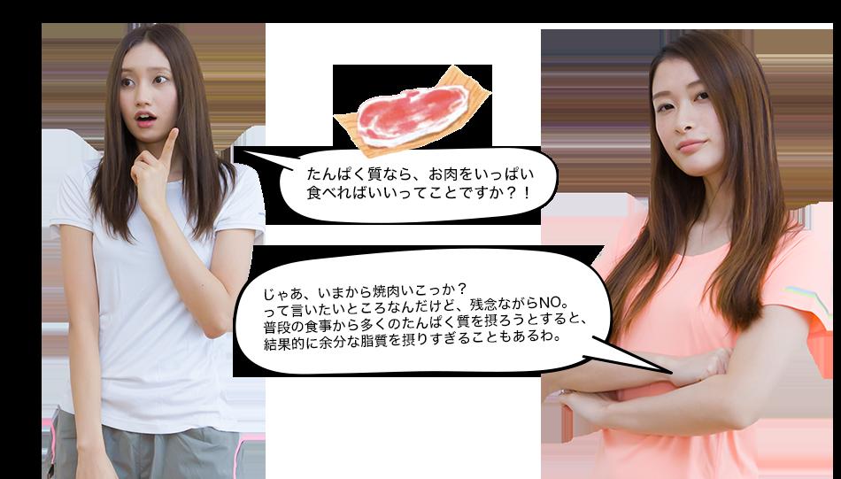 たんぱく質なら、お肉をいっぱい食べればいいってことですか?! じゃあ、いまから焼肉いこっか? って言いたいところなんだけど、残念ながらNO。普段の食事から多くのたんぱく質を摂ろうとすると、結果的に余分な脂質を摂りすぎることもあるわ。