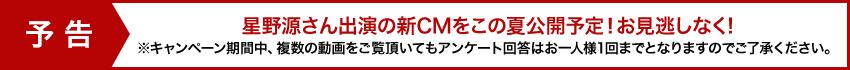 予告 星野源さん出演の新CMをこの夏公開予定!お見逃しなく! ※キャンペーン期間中、複数の動画をご覧頂いてもアンケート回答はお一人様1回までとなりますのでご了承ください。