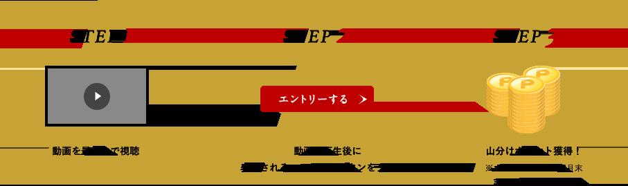 STEP1 動画を最後まで視聴 STEP2 動画の再生後に表示されるエントリーボタンをクリック STEP3 山分けポイント獲得!※ポイントは2018年7月末までに付与されます。