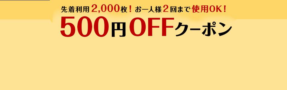 先着利用2,000枚!お一人様2回まで使用OK!500円OFFクーポン