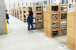 整理整頓された清潔感ある倉庫内で大切な商品を保管・管理しています