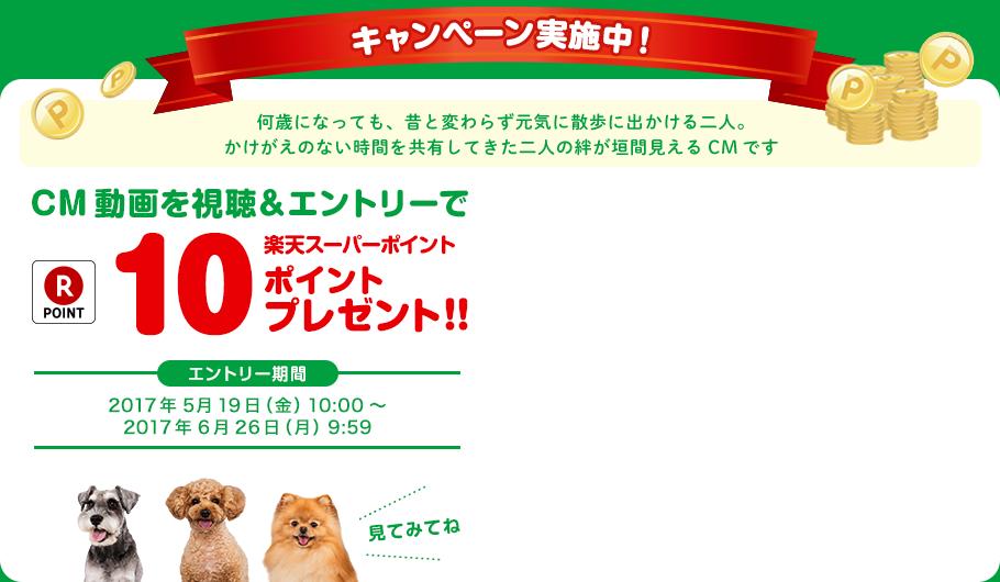 CM動画を視聴&エントリーで楽天スーパーポイント10ポイントプレゼント!