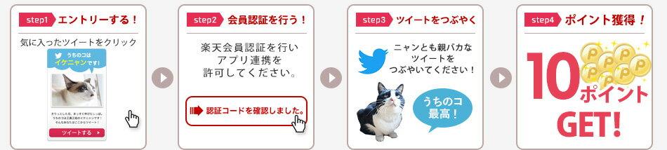 【step1】エントリーする! 【step2】会員認証を行う! 【step3】ツイートをつぶやく 【step4】ポイント獲得!